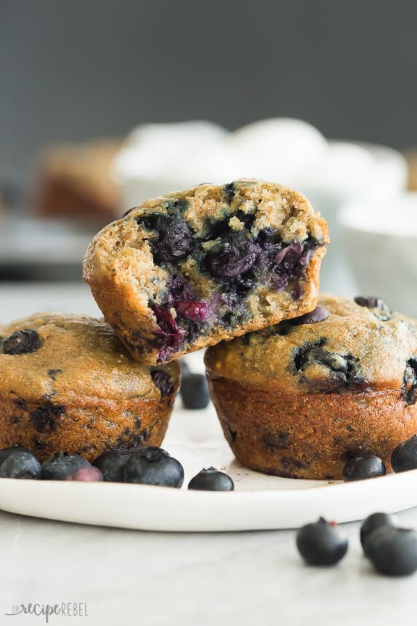blueberry oatmeal muffins overhead