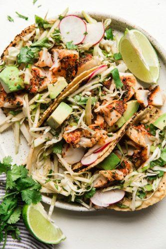 Smoky Paprika Fish Tacos with an Apple Slaw