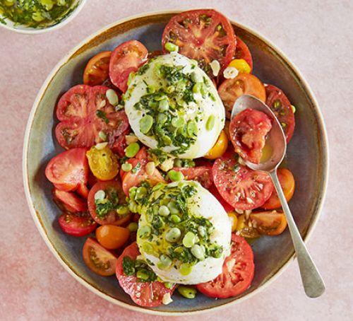 tomato-burrata-broad-bean-salad-BestRecipeFinder