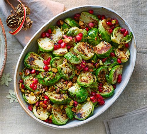 Sizzled-sprouts-with-pistachios-and-pomegranate-BestRecipeFinder