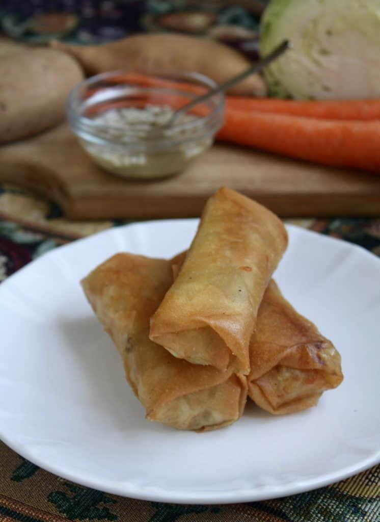 Filipino-Lumpia-with-a-garlic-and-black-pepper-sauce-BestRecipeFinder